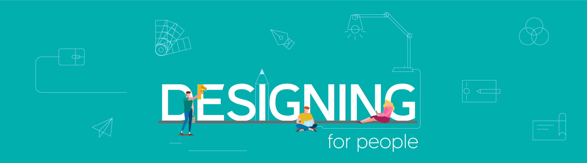 people engaging with design elements with the heading
