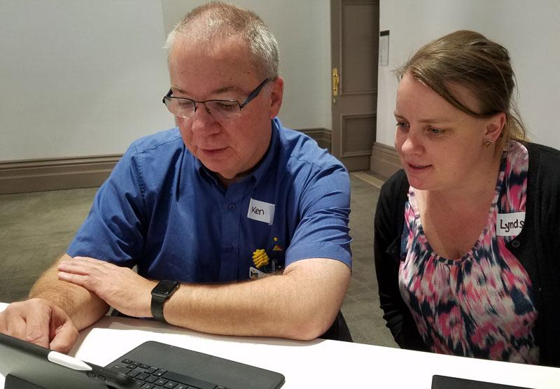 Ken Lyons with Lyndsey Jackson (Digital Service Foundation) at a Digital Springboard trainer session