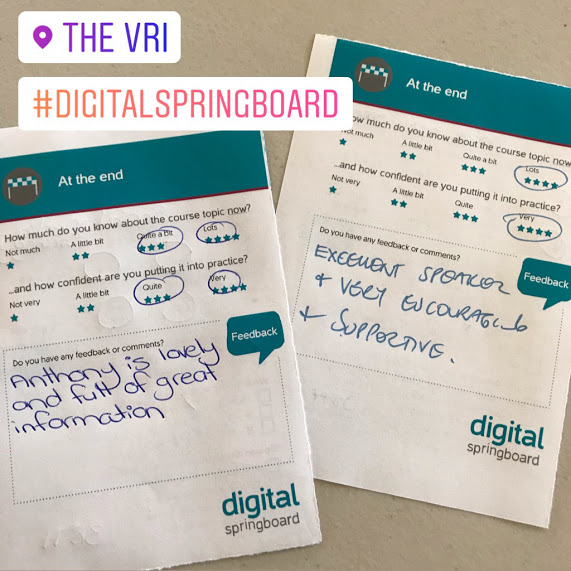 "Digital Springboard feedback card states, ""Excellent speaker and very encouraging and supportive"""