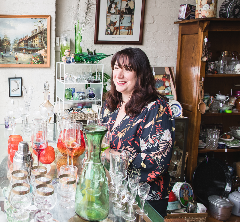 Nina in her family's antiques shop