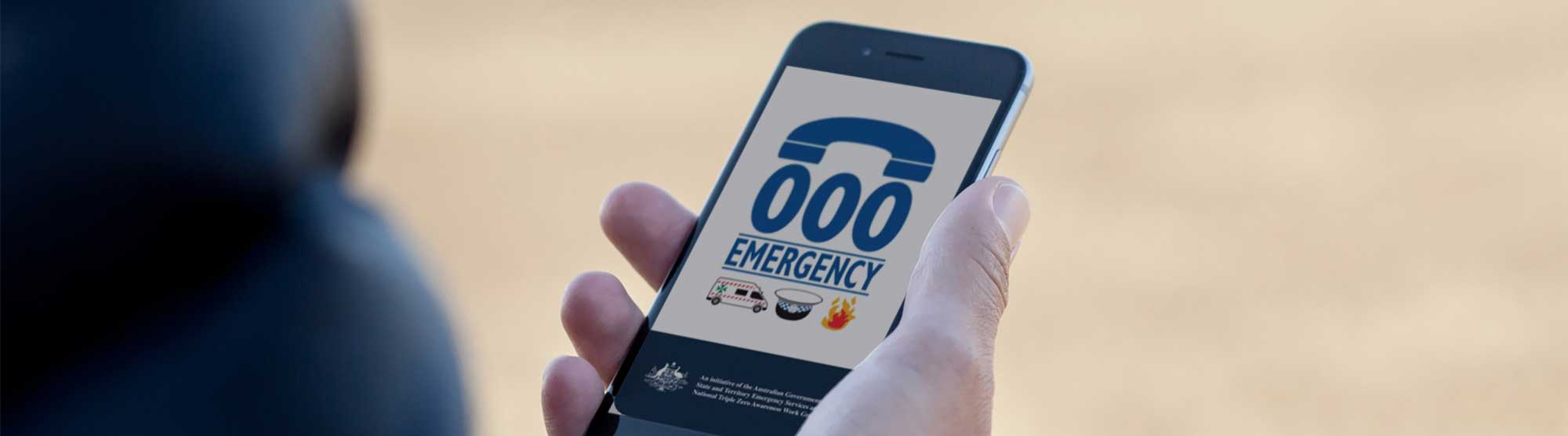 Emergency app showing on a mobile phone